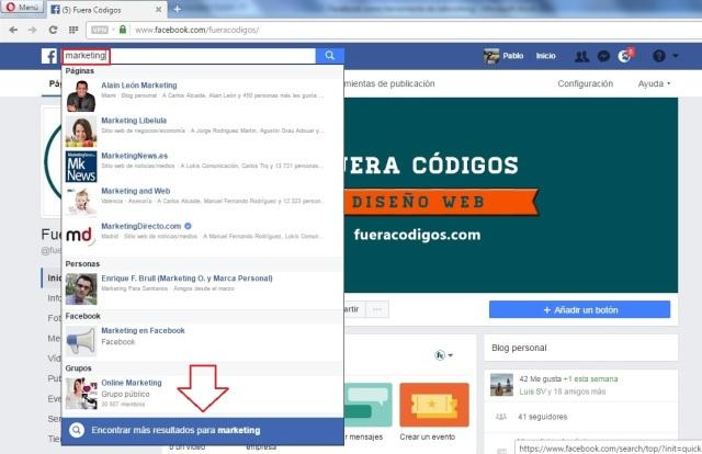 Buscar grupos en Facebook